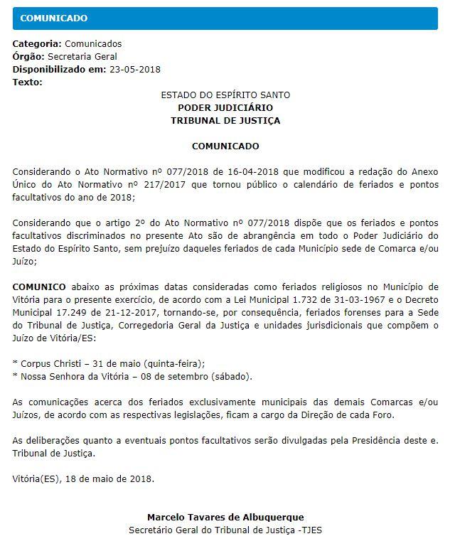 3b04a2633 TJES emite comunicado sobre próximos feriados religiosos de Vitória ...